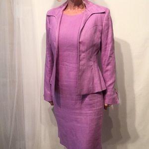 Ann Klein Size 2p 100% Linen Blazer And Dress